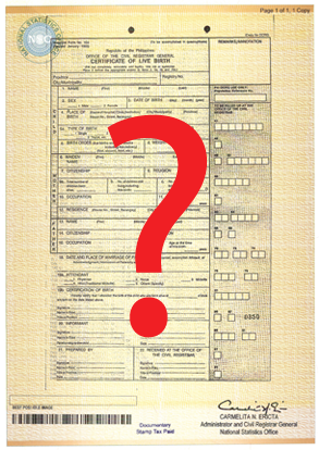 Nso bc with question markg please answer the following questions correctly this will help us determine how to best help you get a copy of your birth certificate from the nso yadclub Images
